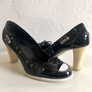 Chanel Patent Leather Black & White Loafer Heels